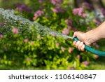 man watering garden with hose ... | Shutterstock . vector #1106140847