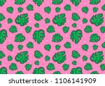 tropical leaves fashion pattern | Shutterstock . vector #1106141909
