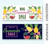 summer sale on pineapple... | Shutterstock .eps vector #1106153534