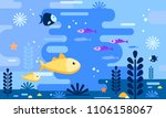 sea life in flat style.... | Shutterstock .eps vector #1106158067