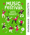music festival cartoon poster.... | Shutterstock .eps vector #1106167574