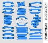 24 blue ribbons. flat vector... | Shutterstock .eps vector #1106182514