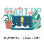 vector illustration rocket... | Shutterstock .eps vector #1106184254