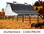 Large White Barn And Autumn...