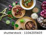 thai esan food  roast beef on... | Shutterstock . vector #1106205605