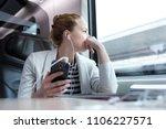 thoughtful businesswoman... | Shutterstock . vector #1106227571