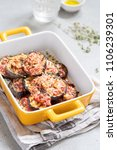 gratin with grilled eggplant ... | Shutterstock . vector #1106239301