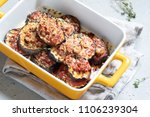 gratin with grilled eggplant ... | Shutterstock . vector #1106239304