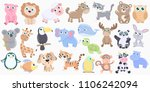 Stock vector cute animals set flat design 1106242094