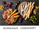 appetizers table with italian... | Shutterstock . vector #1106242097