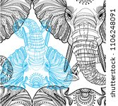 seamless pattern with elephants.... | Shutterstock .eps vector #1106248091