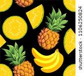 pineapples with fresh flesh ...   Shutterstock .eps vector #1106250824