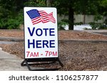 sign for polling location to... | Shutterstock . vector #1106257877