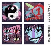 Set Of 4 Abstract Art Grunge...