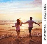 happy couple on honeymoon... | Shutterstock . vector #1106281337