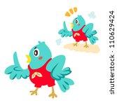 a blue bird is talking | Shutterstock .eps vector #110629424