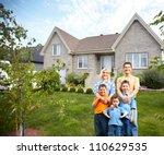 happy family near new house.... | Shutterstock . vector #110629535