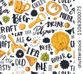 beer seamless pattern with hand ... | Shutterstock .eps vector #1106300075