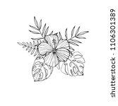 tropical flowers   hibiscus ... | Shutterstock . vector #1106301389