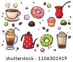 hand drawn coffee and sweets... | Shutterstock . vector #1106301419