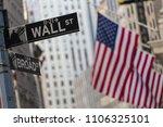 wall street sign in new york... | Shutterstock . vector #1106325101