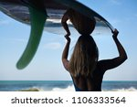 girl in bikini with surfboard... | Shutterstock . vector #1106333564