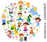 kids and animal | Shutterstock .eps vector #1106344829