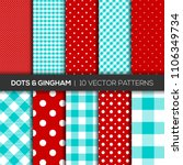 Red and complementary color Gingham and Polka Dots Sets Vector Patterns. Gingham and Polka Dots seamless pattern. Texture/background from rhombus/squares for - plaid, tablecloths. Vector illustration. - stock vector