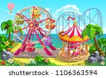 amusement park on tropical... | Shutterstock .eps vector #1106363594