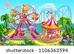 Amusement Park On Tropical...