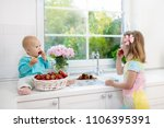 little girl and baby boy...   Shutterstock . vector #1106395391