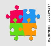 4 colorful pieces puzzle square ... | Shutterstock .eps vector #1106396957