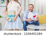 little caucasian girl daughter... | Shutterstock . vector #1106401184