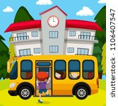 school bus in front of school... | Shutterstock .eps vector #1106407547