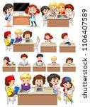 set of school students studying ... | Shutterstock .eps vector #1106407589