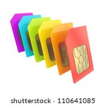 Row of SIM cards with circuit microchips isolated - stock photo