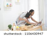 father and daughter learning... | Shutterstock . vector #1106430947