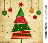 vintage christmas card with... | Shutterstock .eps vector #110644931