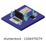 work place scene isometric icons | Shutterstock .eps vector #1106470274