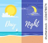 day and night summer beach... | Shutterstock .eps vector #1106478074