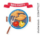 portable round barbecue with... | Shutterstock .eps vector #1106479127