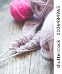 knitting needles and yarn on... | Shutterstock . vector #1106484965