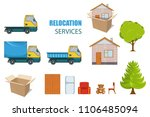 relocation service. moving... | Shutterstock .eps vector #1106485094