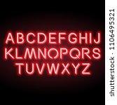 neon red vector alphabet  set... | Shutterstock .eps vector #1106495321