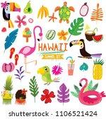 summer set of hawaiian symbols... | Shutterstock .eps vector #1106521424