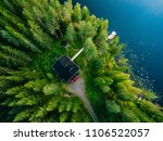 Aerial View Of Wooden Cottage...