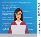 young pretty woman programmer... | Shutterstock .eps vector #1106522669