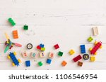 top view on plastic toys ...   Shutterstock . vector #1106546954