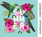 tropical summer floral poster... | Shutterstock .eps vector #1106548205