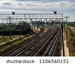 view from above of the railroad ... | Shutterstock . vector #1106560151